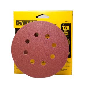 "DEW4311 5"" 8 Hole 120 grit hook and loop"